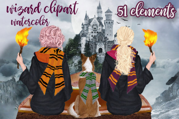 Wizard Girls Clipart Wizard Friends Graphic Illustrations By LeCoqDesign