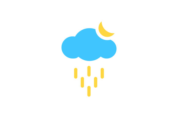 Download Free Cloud Rain With Moon Flat Icon Vector Graphic By Riduwan Molla Creative Fabrica for Cricut Explore, Silhouette and other cutting machines.
