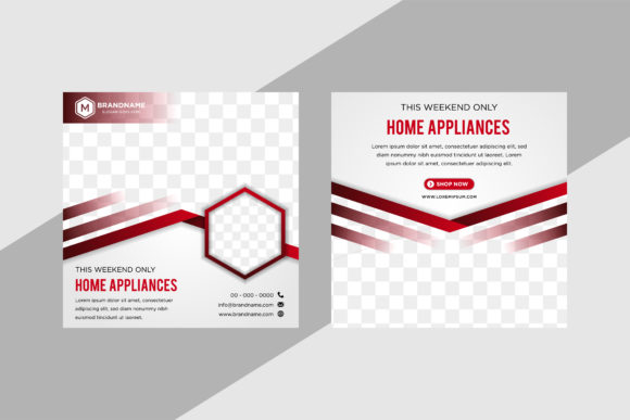 Download Free Diagonal Hexagon Square Banner Red Graphic By Noory Shopper for Cricut Explore, Silhouette and other cutting machines.