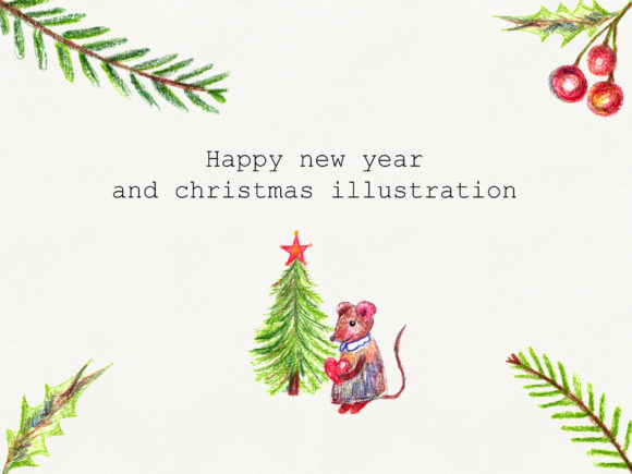 Print on Demand: Hand Drawn Pencil Christmas Set, Mouse Graphic Illustrations By marisid11