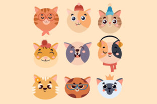 Download Free Illustration Cats Head Set Grafico Por Aprlmp276 Creative Fabrica for Cricut Explore, Silhouette and other cutting machines.