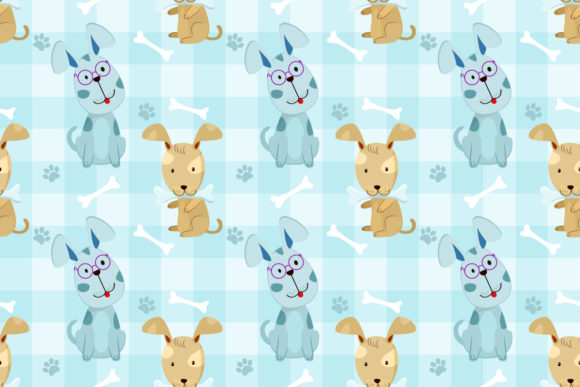 Seamless Pattern with Funny Dog and Bone Graphic Patterns By ranger262