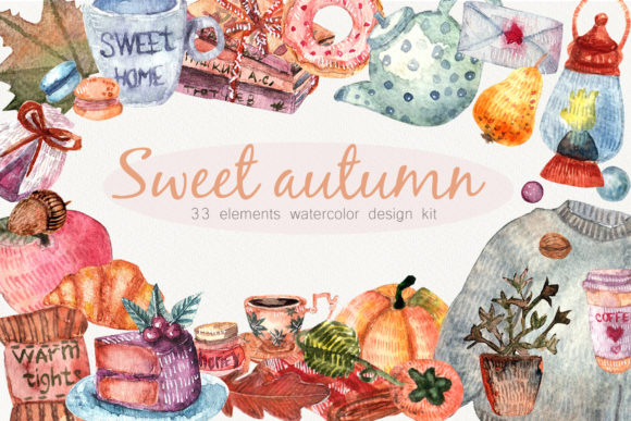 Download Free Watercolor Cozy Autumne Home Clipart Graphic By Marisid11 for Cricut Explore, Silhouette and other cutting machines.