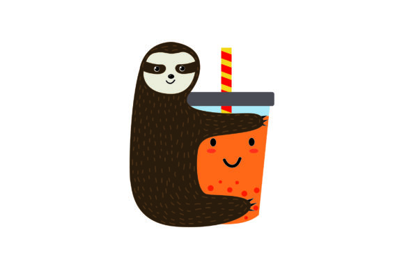 Cute Sloth Hugging A Bubble Tea Cup Svg Cut File By Creative