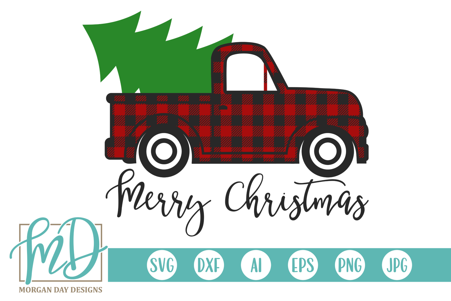 Download Free Buffalo Plaid Merry Christmas Truck Graphic By Morgan Day for Cricut Explore, Silhouette and other cutting machines.