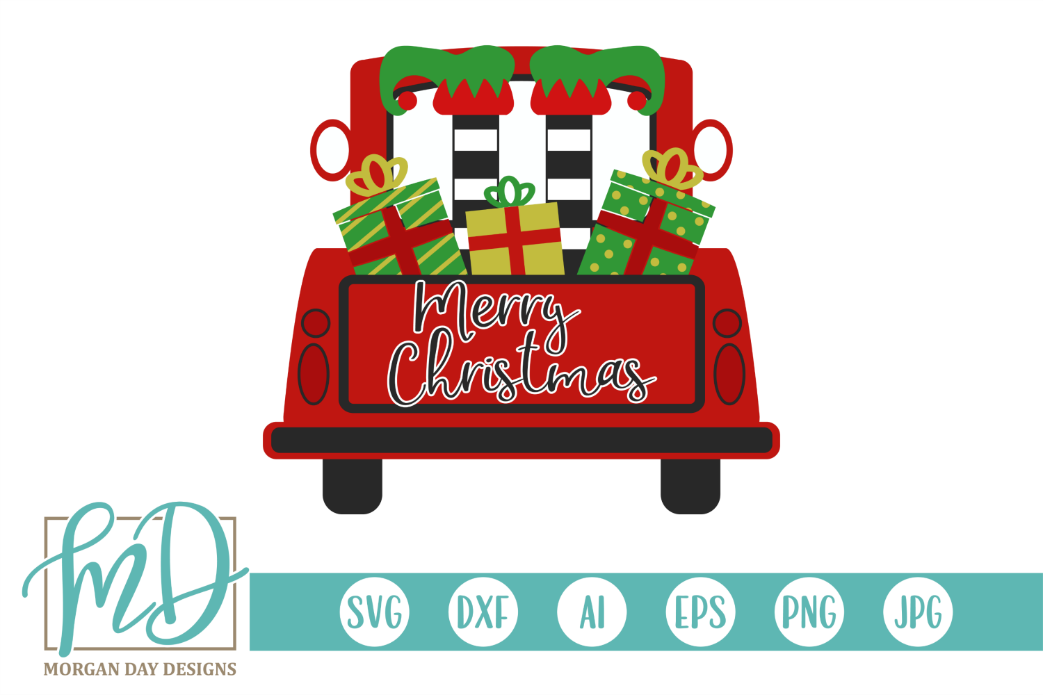 Download Free Merry Christmas Truck With Elf Graphic By Morgan Day Designs for Cricut Explore, Silhouette and other cutting machines.