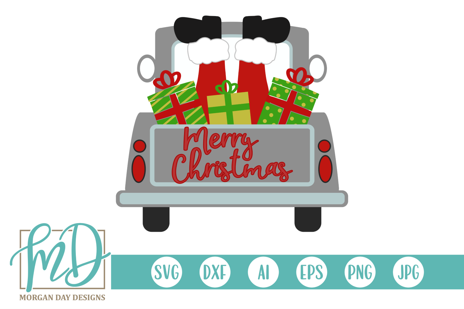 Download Free Merry Christmas Truck With Sants Graphic By Morgan Day Designs for Cricut Explore, Silhouette and other cutting machines.