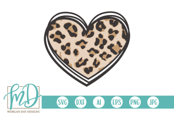Print on Demand: Valentine's Day Leopard Heart Graphic Crafts By Morgan Day Designs