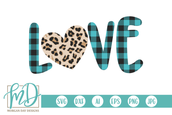 Print on Demand: Valentine's Day Plaid Leopard Heart Gráfico Crafts Por Morgan Day Designs