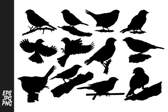 Print on Demand: Silhouette Sparrow Vector Bundle Graphic Crafts By Arief Sapta Adjie