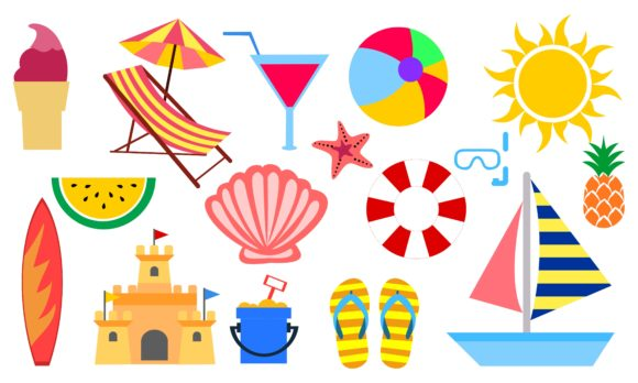 Set of Summer and Vacation Elements Cute Graphic Logos By DEEMKA STUDIO