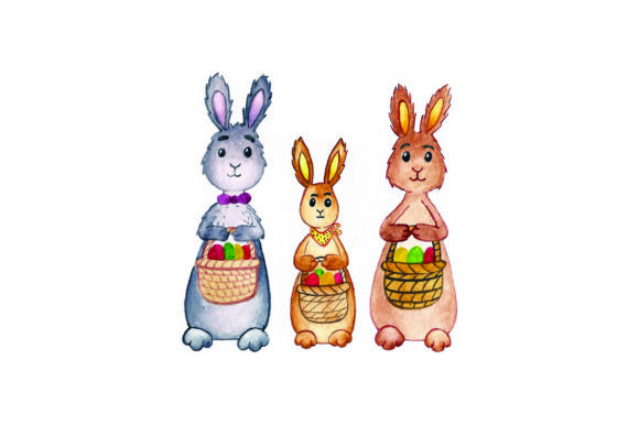 Bunny Family Holding Baskets - Watercolor Easter Craft Cut File By Creative Fabrica Crafts