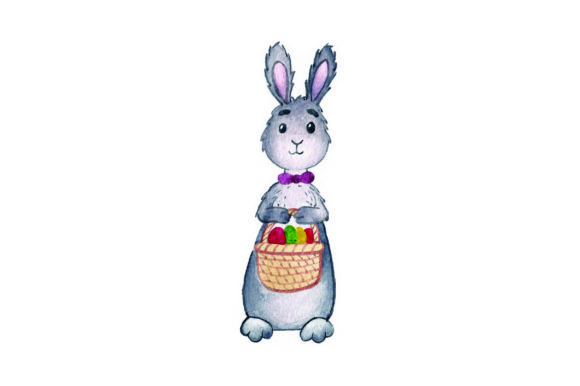 Bunny Holding Easter Basket - Watercolor Easter Craft Cut File By Creative Fabrica Crafts