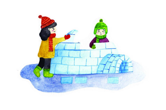 Kids Building Igloo - Watercolor Winter Craft Cut File By Creative Fabrica Crafts