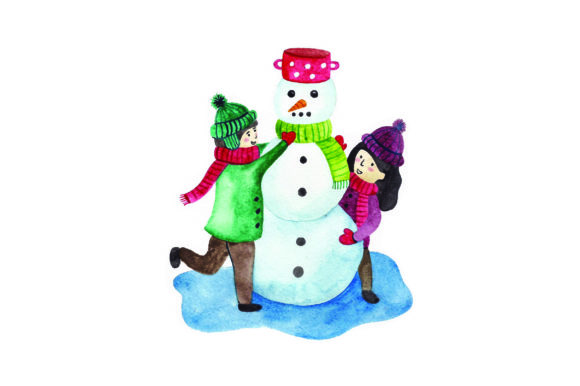 Kids Building Snowman - Watercolor Winter Craft Cut File By Creative Fabrica Crafts