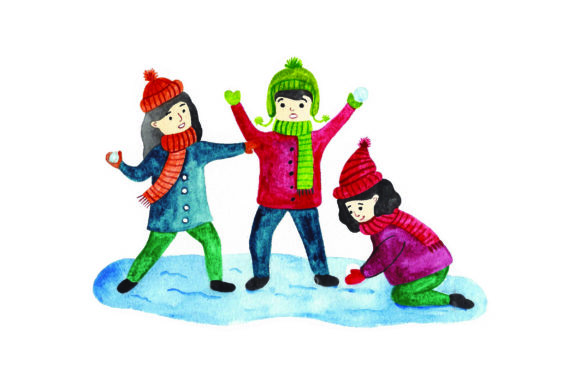 Kids Having Snowball Fight - Watercolor Winter Craft Cut File By Creative Fabrica Crafts