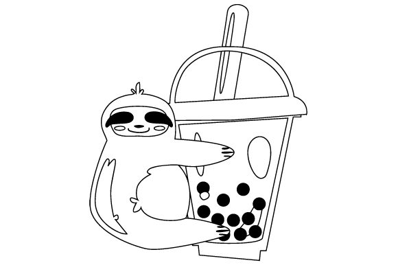 Download Free Cute Bubble Tea Sloth Svg Cut File By Creative Fabrica Crafts for Cricut Explore, Silhouette and other cutting machines.