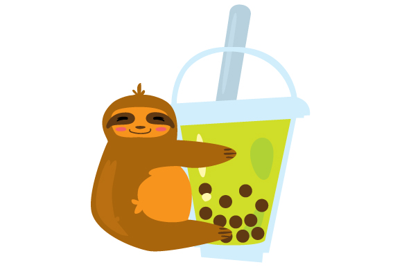 Download Free Cute Bubble Tea Sloth Svg Cut File By Creative Fabrica Crafts SVG Cut Files