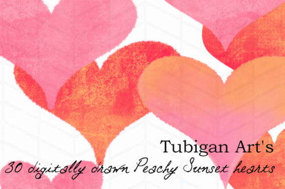 Print on Demand: 30 Peachy Sunset Hearts Graphic Illustrations By Tubiganart