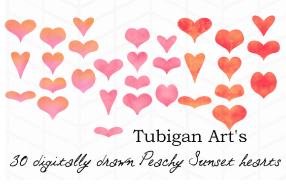 Print on Demand: 30 Peachy Sunset Hearts Graphic Illustrations By Tubiganart - Image 2
