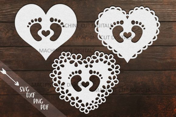 Baby Footprint Foot with Heart Graphic Crafts By Cornelia