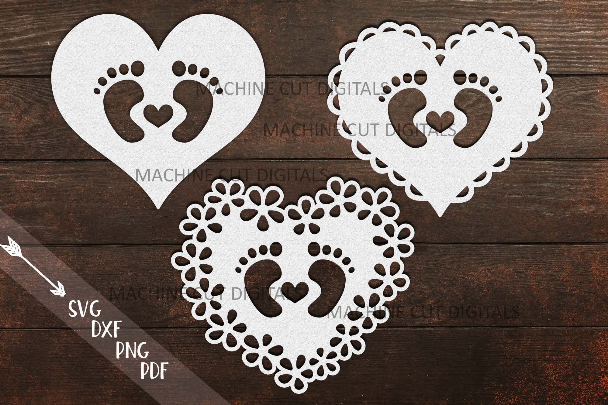 Baby Footprint Foot with Heart SVG File