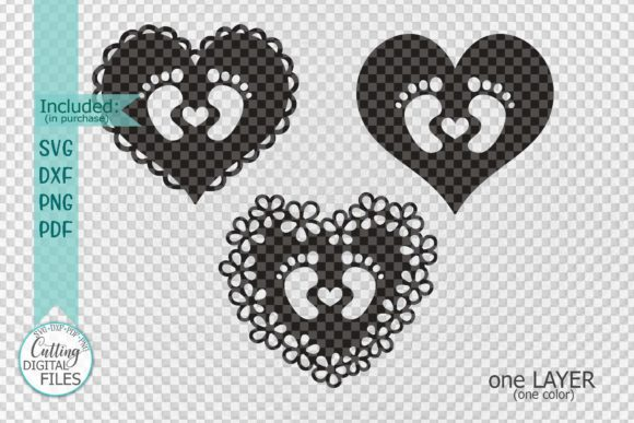 Download Free Baby Footprint Foot With Heart Graphic By Cornelia Creative for Cricut Explore, Silhouette and other cutting machines.