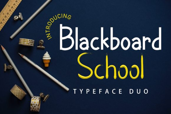 Print on Demand: Blackboard School Decorative Font By airotype