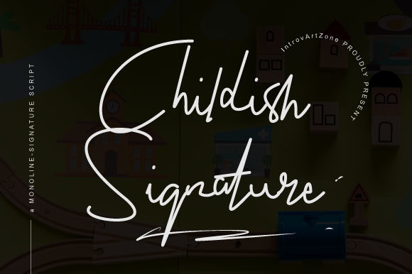 Print on Demand: Childish Signature Script & Handwritten Font By IntrovArtZone