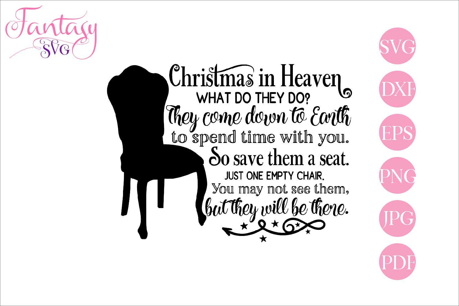 Download Free Christmas In Heaven Graphic By Fantasy Svg Creative Fabrica for Cricut Explore, Silhouette and other cutting machines.