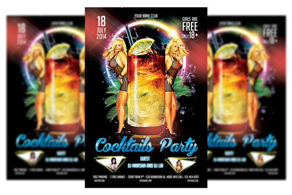 Download Free Cocktail Party Flyer Template Graphic By Matthew Design for Cricut Explore, Silhouette and other cutting machines.
