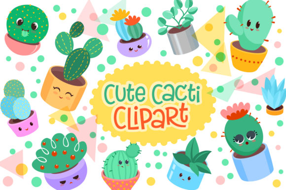 Print on Demand: Cute Cacti Clipart 18 Vector Items Graphic Objects By tatiana.cociorva