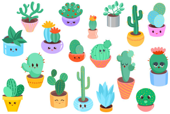 Download Free Cute Cacti Clipart 18 Vector Items Graphic By Tatiana Cociorva for Cricut Explore, Silhouette and other cutting machines.