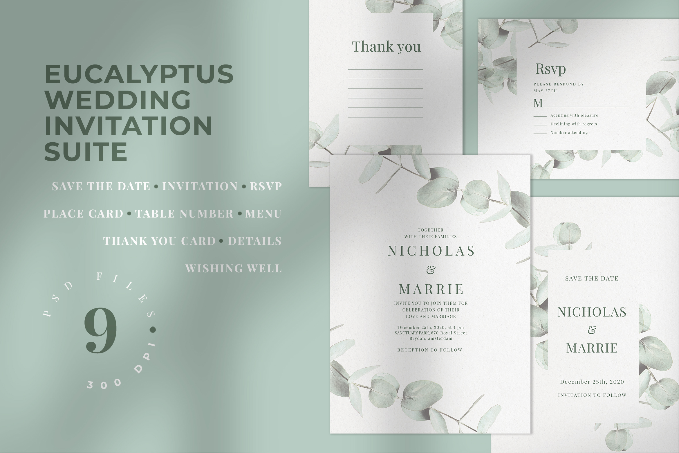 Download Free Eucalyptus Wedding Invitation Suite Graphic By Azka Creative for Cricut Explore, Silhouette and other cutting machines.