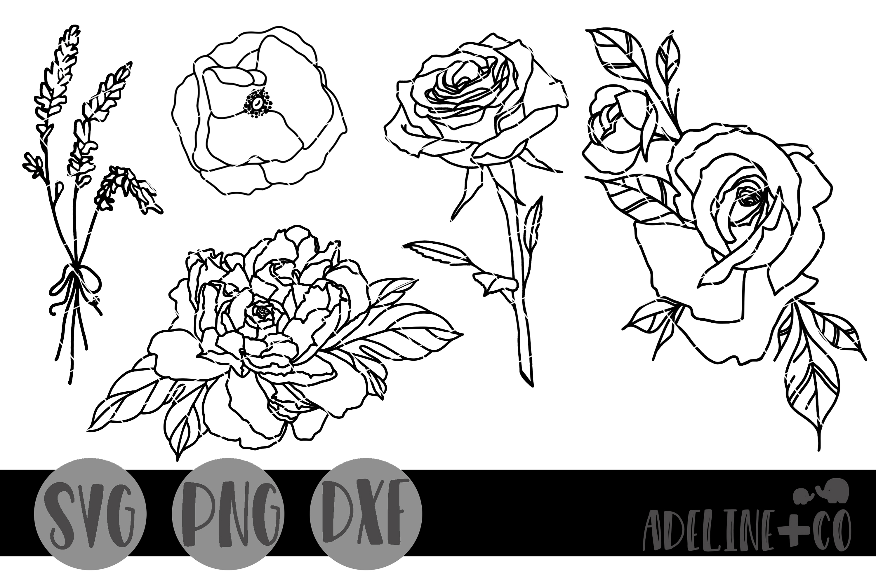 Download Free Flower Outline Bundle Graphic By Adelinenco Creative Fabrica for Cricut Explore, Silhouette and other cutting machines.