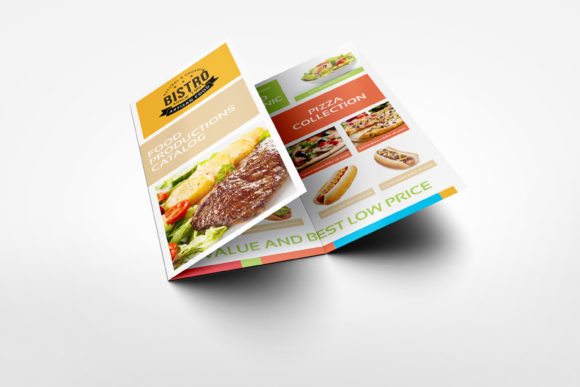 Download Free Food Products Catalog Tri Fold Brochure Graphic By Owpictures for Cricut Explore, Silhouette and other cutting machines.