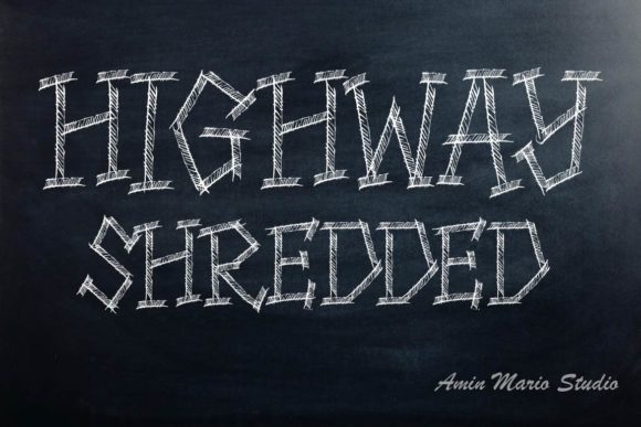 Print on Demand: HIghway Shredded Display Font By aminmario
