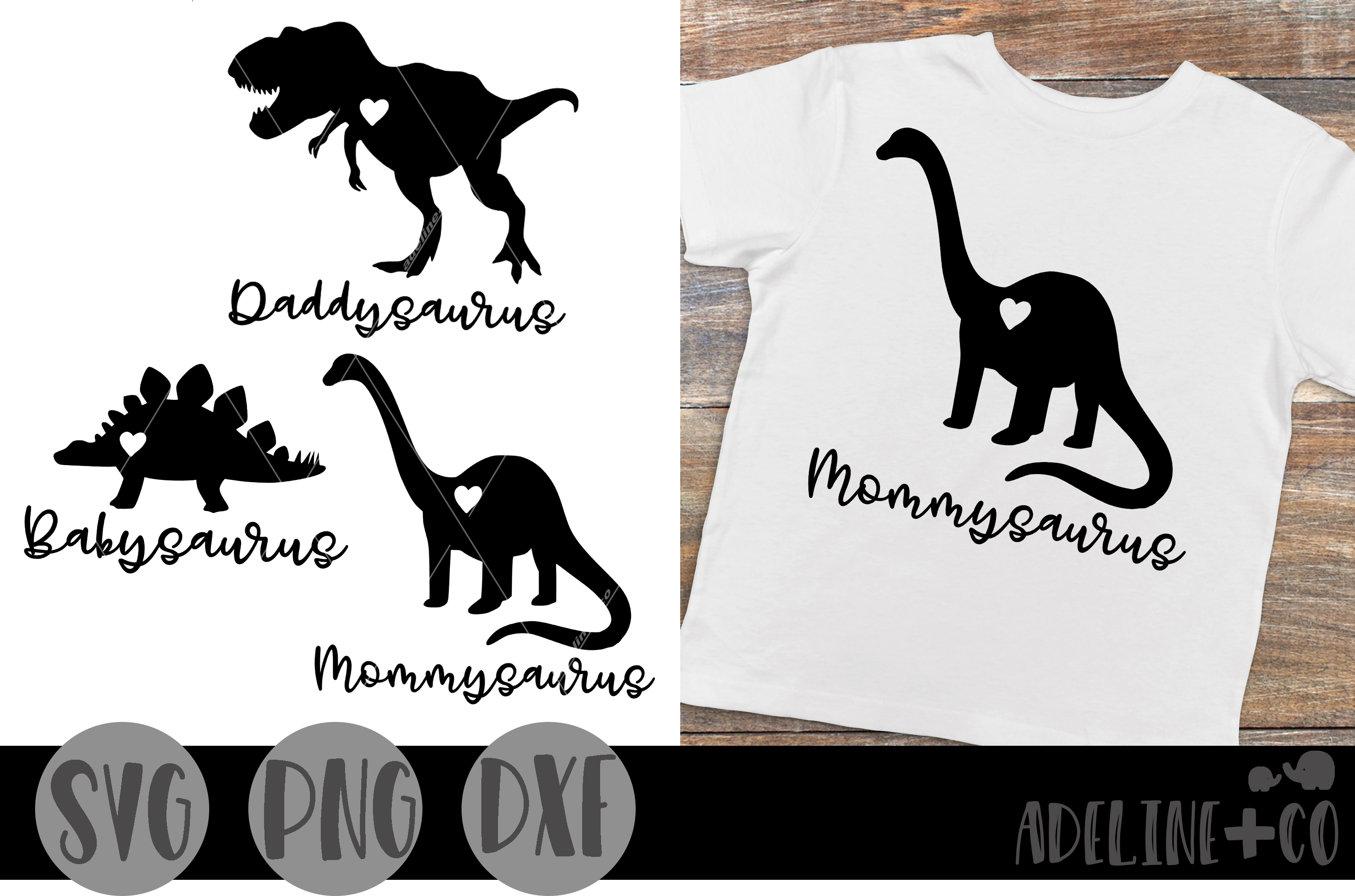 Download Free Mommysaurus Daddysaurus Babysaurus Graphic By Adelinenco for Cricut Explore, Silhouette and other cutting machines.