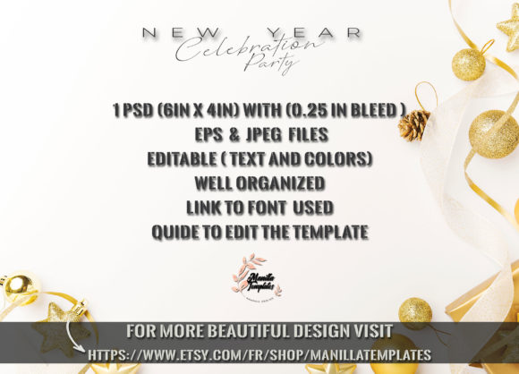 Download Free New Year Party Flyer Template Graphic By Manilla Templates for Cricut Explore, Silhouette and other cutting machines.