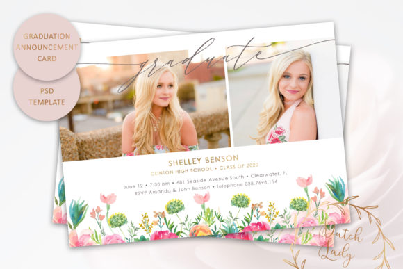 Print on Demand: PSD Graduation Announcement Card #8 Graphic Print Templates By daphnepopuliers