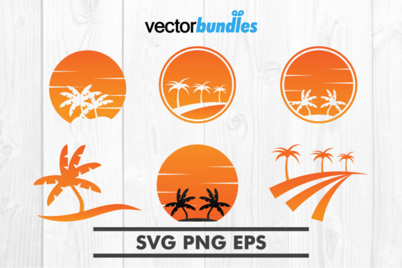 Print on Demand: Palm Tree Sunset Clip Art Graphic Crafts By vectorbundles