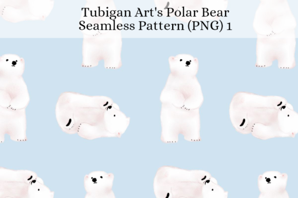 Print on Demand: Polar Bear Seamless Pattern Gráfico Moldes Por Tubiganart
