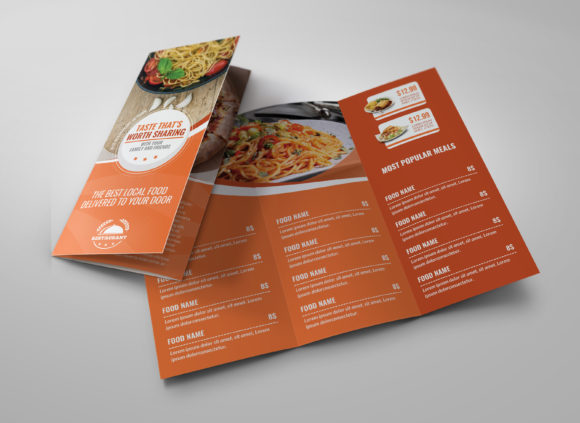 Print on Demand: Restaurant Food Menu Tri-Fold Brochure Graphic Print Templates By OWPictures