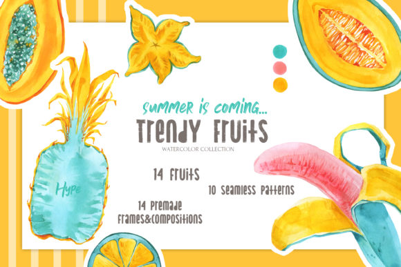 Trendy Fruits Watercolor Set Graphic Illustrations By Cat In Colour
