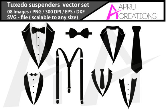 Print on Demand: Tuxedo Suspenders Tuxedo Suspende Graphic Icons By aparnastjp