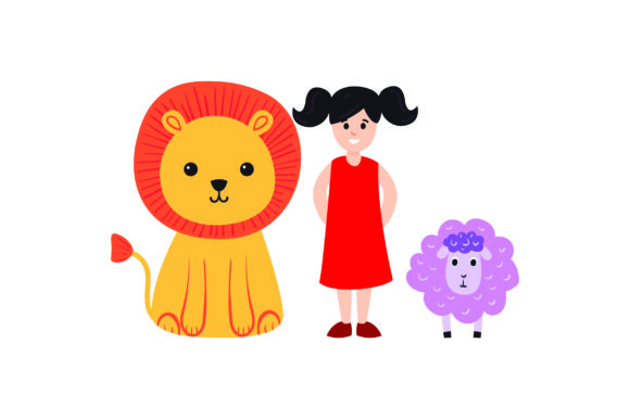 Lion, Lamb, and Small Child Designs & Drawings Craft Cut File By Creative Fabrica Crafts