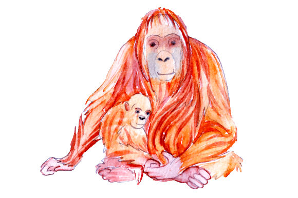 Download Free Mom And Baby Orangutangs In Watercolor Style Svg Cut File By for Cricut Explore, Silhouette and other cutting machines.