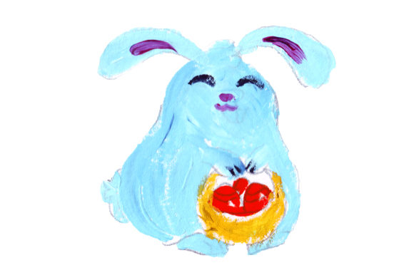 Bunny Holding Easter Basket in Gouache Style Easter Craft Cut File By Creative Fabrica Crafts