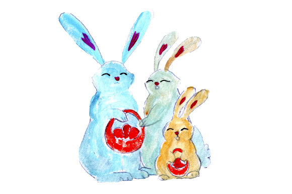 Bunny Family Holding Baskets in Gouache Style Easter Craft Cut File By Creative Fabrica Crafts