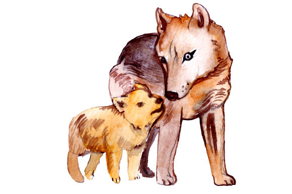 Download Free Mom And Baby Wolves In Watercolor Style Svg Cut File By Creative SVG Cut Files
